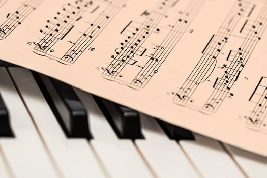 Sheet music on a piano